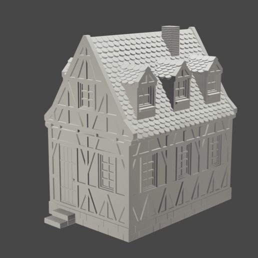 v0.png Télécharger fichier STL maison à charpente médiévale - décoration - table/terrain de jeu • Modèle pour impression 3D, pyrokahd