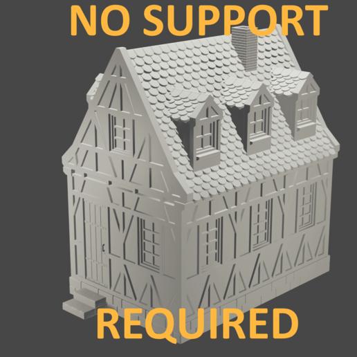 noSupportRequiredRenderBeschriftet.png Télécharger fichier STL maison à charpente médiévale - décoration - table/terrain de jeu • Modèle pour impression 3D, pyrokahd