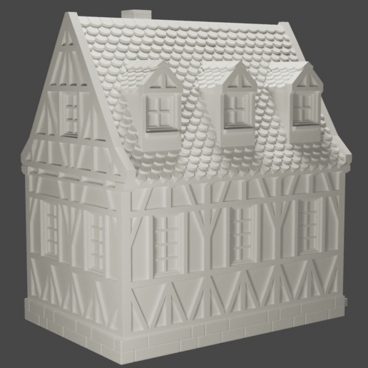 house2.png Download STL file medieval frame house - decoration - tabletop/wargaming terrain • 3D printable design, pyrokahd