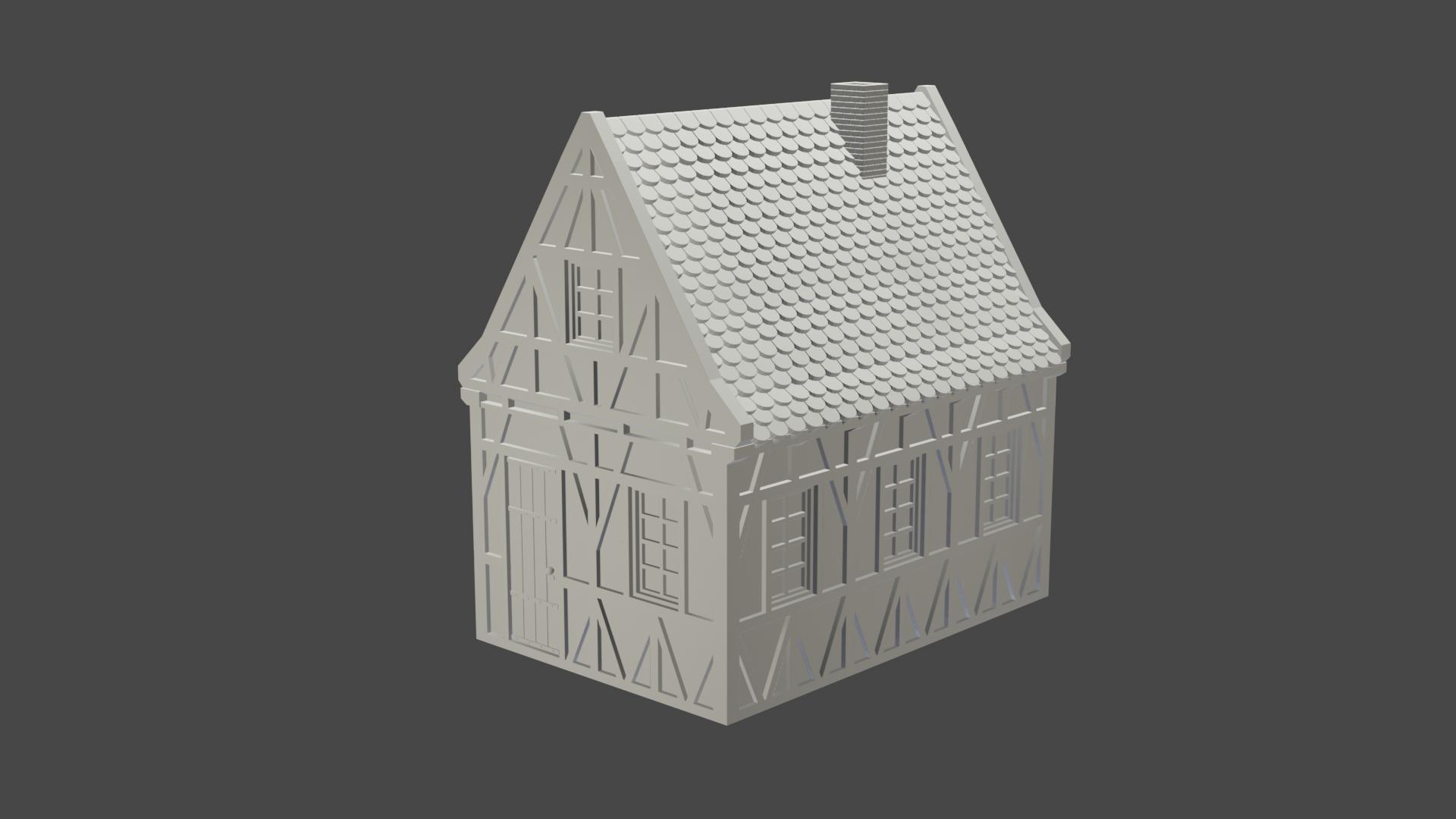 v3.png Télécharger fichier STL maison à charpente médiévale - décoration - table/terrain de jeu • Modèle pour impression 3D, pyrokahd
