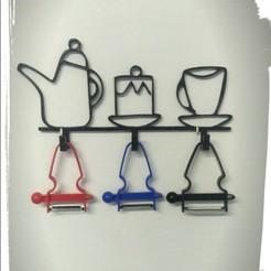 Screenshot_3.jpg Download STL file Kitchen hook rack with 3 hangers • Object to 3D print, Eternel06