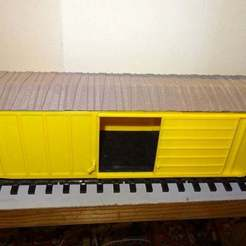 Side_view_door_open.jpg Download STL file US 60 Feet Boxcar Scale 1/32 • 3D print template, raby