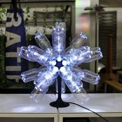 Free STL files Ikosaeder Christmas star lamp from used plastic bottles, metalguru