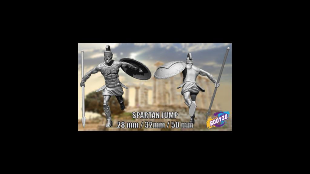 yrtyrtytryrty.png Télécharger fichier STL gratuit Spartans jump - Miniature 28mm 35mm 50mm • Plan pour impression 3D, BODY3D