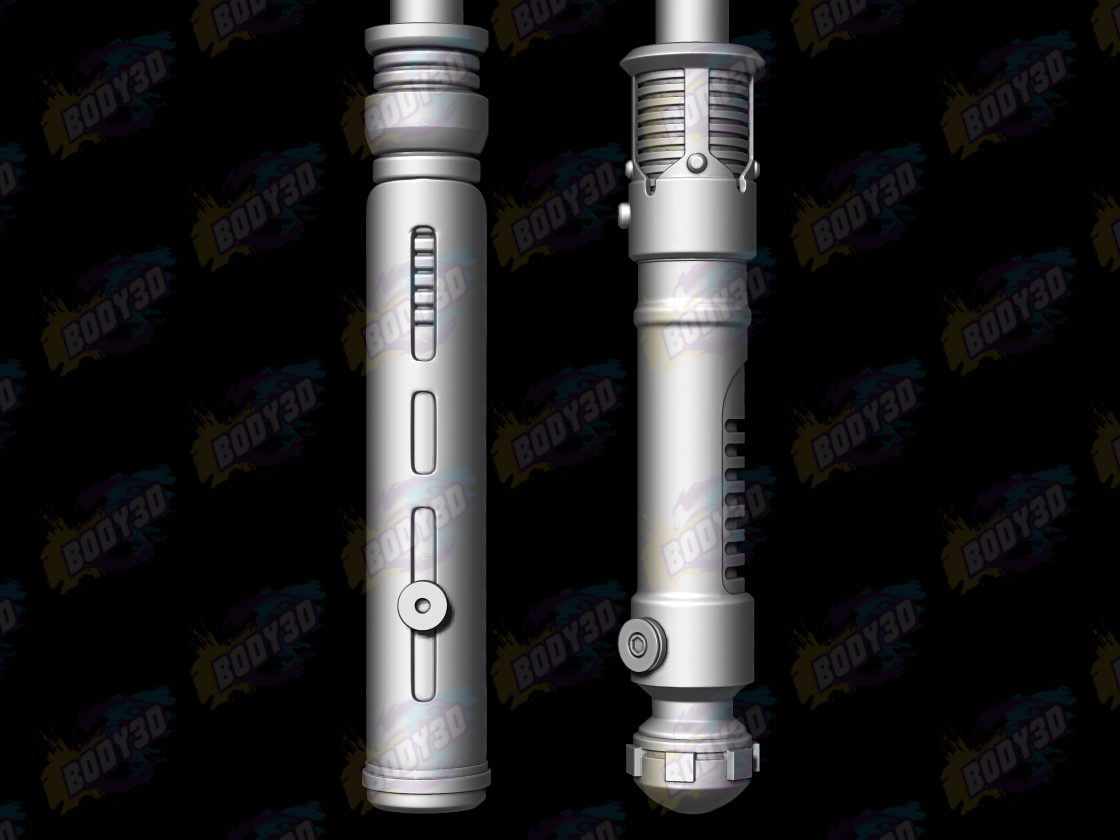 02.png Download free STL file Obiwan & Qui-Gon LightSabers • Template to 3D print, BODY3D