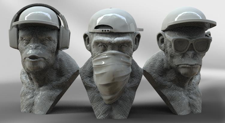 3 singes.png Télécharger fichier STL 3 Wise Monkeys • Modèle pour imprimante 3D, BODY3D