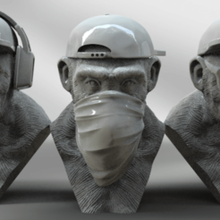 3 singes.png Download STL file 3 Wise Monkeys • 3D print design, BODY3D