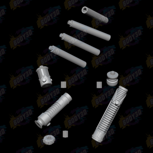08.png Download free STL file Obiwan & Qui-Gon LightSabers • Template to 3D print, BODY3D