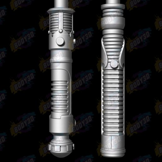 01.png Download free STL file Obiwan & Qui-Gon LightSabers • Template to 3D print, BODY3D