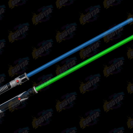 05.png Download free STL file Obiwan & Qui-Gon LightSabers • Template to 3D print, BODY3D