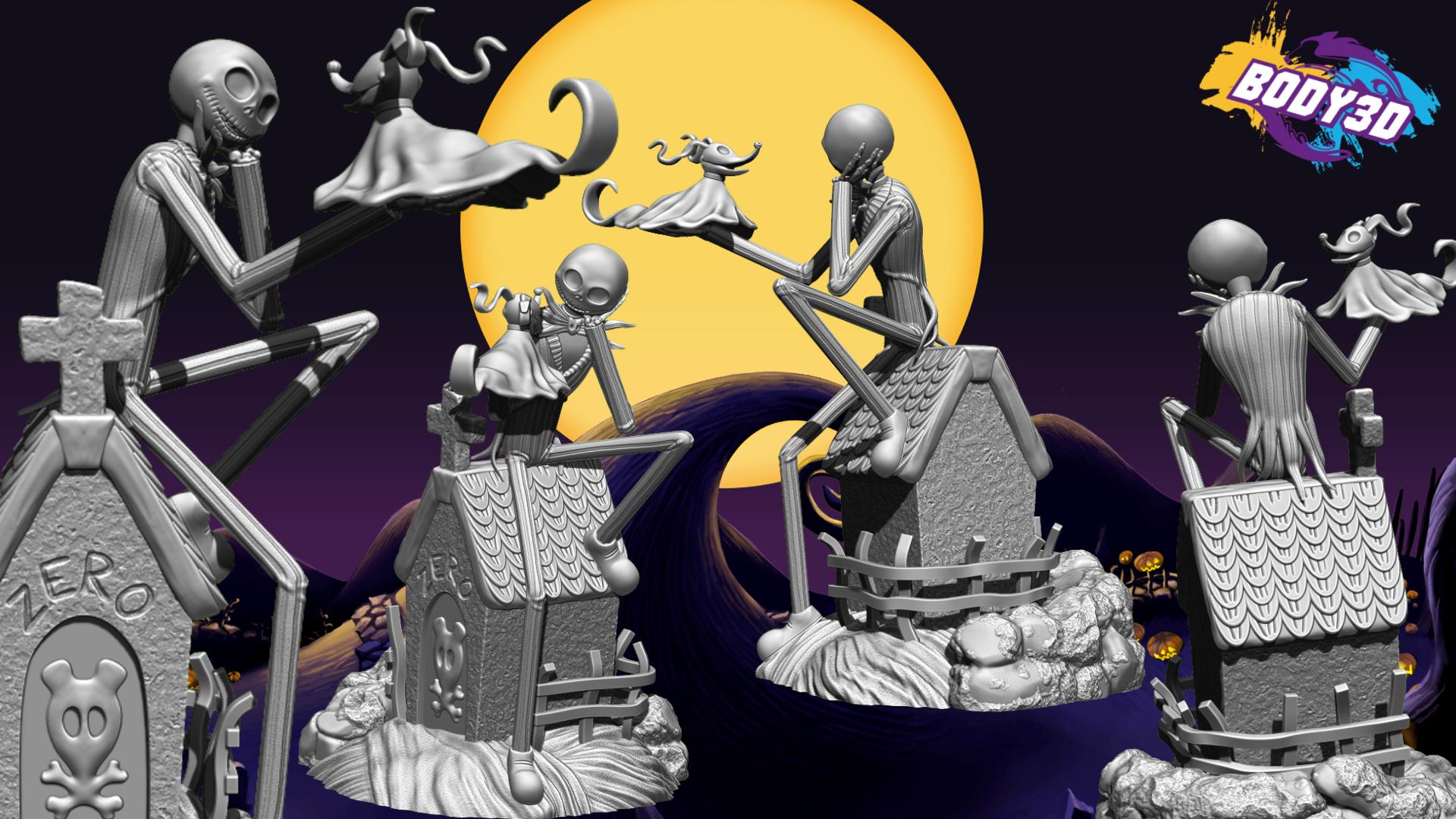 rendu.png Télécharger fichier STL Jack Skellington And Zero - The Nightmare Before Christmas • Design pour impression 3D, BODY3D