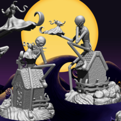 rendu.png Download STL file Jack Skellington And Zero - The Nightmare Before Christmas • Model to 3D print, BODY3D