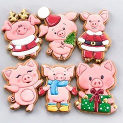 Download 3D printer designs A set of pigs for the stamp + cutting for cookies, lasersun3d