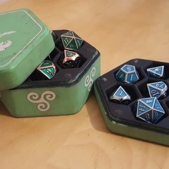 Free 3d printer model Hexagonal Dice box middel Triskel, Arzmael