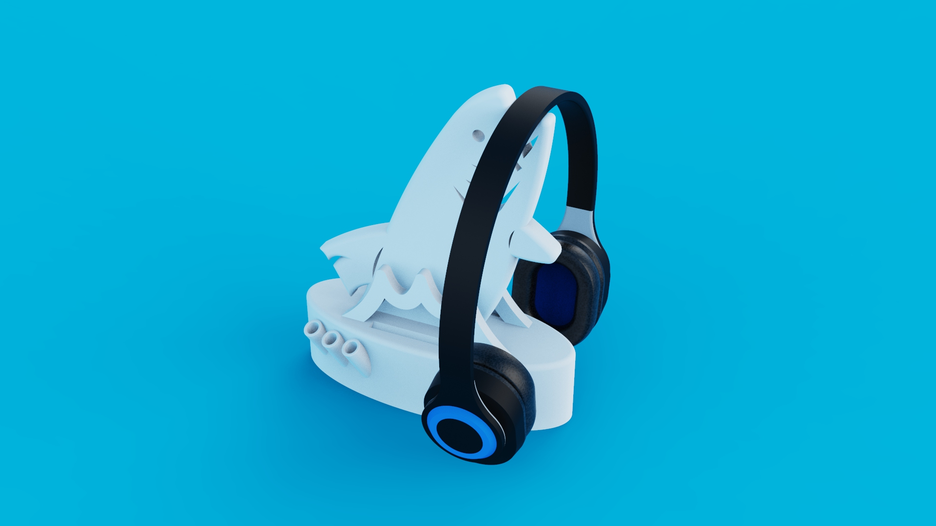 Fish_Headphone_Stand_Organiser_KeyShot.jpg Download free STL file Fish Headphone Stand Organiser • 3D printing model, inProgressDesigns
