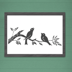 Image présentation.png Download STL file Wall Decoration Birds On A Branch In Silhouette • 3D print design, SNG06