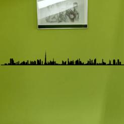 Dubai photo mur.png Télécharger fichier STL SILHOUETTE VILLE DUBAI DÉCORATION MURALE LIGNE • Plan à imprimer en 3D, SNG06