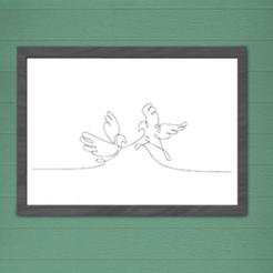 Image présentation.png Download STL file WALL DECORATION BIRDS STYLE 1 LINE • 3D printer design, SNG06