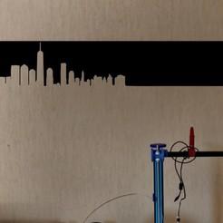 New York ligne mur.jpg Télécharger fichier STL Silhouette Ville New York Décoration Murale • Design imprimable en 3D, SNG06