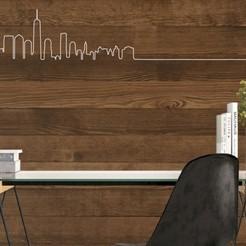 Mur ligne ny.jpg Télécharger fichier STL Silhouette Ville New York Décoration Murale en Ligne • Plan pour impression 3D, SNG06