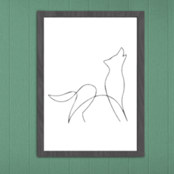 LoupImageRendu.png Download STL file Wolf Silhouette Wall Decoration • 3D printable object, SNG06