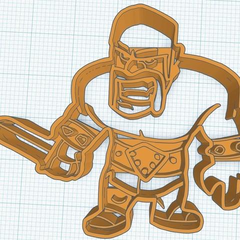 ClashRoyale-Guerrero.jpg Download STL file ClashRoyale Guerrero cookie cutter • 3D printing design, diegox484