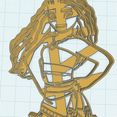 Mohana Adulta.jpg Download STL file COOKIES CUTTER Moana Mohana Adulta, CORTANTE DE GALLETAS Moana Mohana Adulta • 3D printer object, diegox484