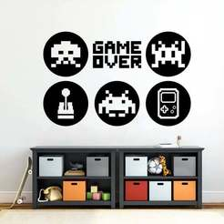 Download 3D printer templates POSTER GAMER RETRO DECORATIVE PENDANT, diegox484