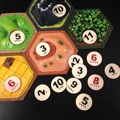 Free 3d printer files Catan Number Tokens, stockto