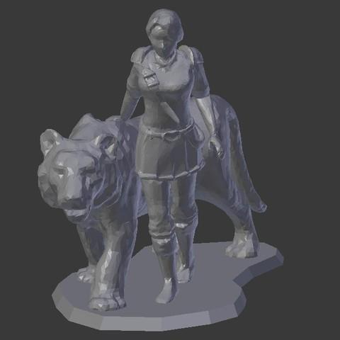 Descargar diseños 3D gratis Caballero Femenino con Tigre, stockto
