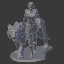Download free 3D print files Female Knight with Tiger, stockto