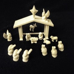Download free 3D printing templates No-Supports Nativity Set, stockto