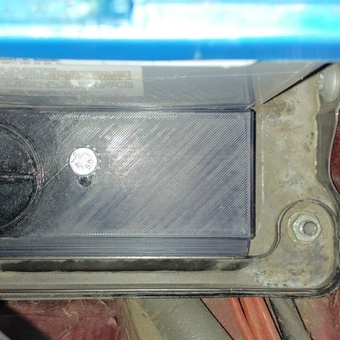 Download free 3D printing models Car battery bracket to hold shorter 74Ah battery instead of longer - 100Ah one, glassy