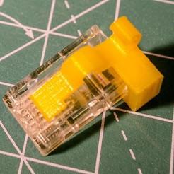 dacfd5f9261a8f30497a52903f8acfc3_display_large.jpg Télécharger fichier STL gratuit Ethernet (RJ45) COMPLETEMENT : : rupture de l'onglet Plug lock-tab fix. • Objet pour impression 3D, glassy