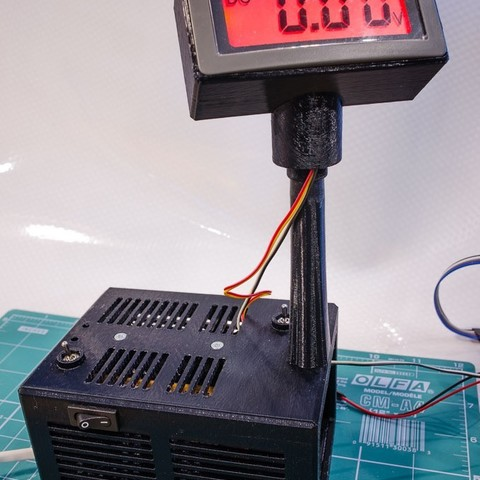 Free 3D model project enclosure for 12PSU, prototype board and voltmeter, glassy