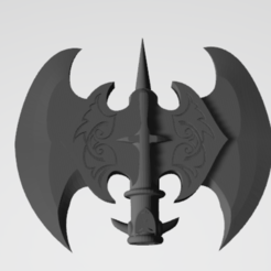tête.PNG Download STL file Snaga Double-edged axe • 3D print design, Mordrok