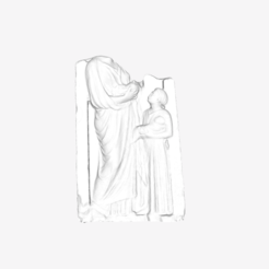Download free 3D printer files Mother of Twins funerary stele at The Louvre, Paris, Louvre