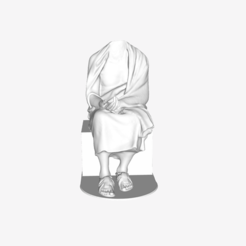 Download free STL file Seated Philosopher: Chrysippus (?) at The Louvre, Paris • 3D print design, Louvre