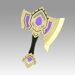 Download 3D printing designs World Of Warcraft Shadowlands Axe Bastion Cosplay weapon prop , Blackeveryday