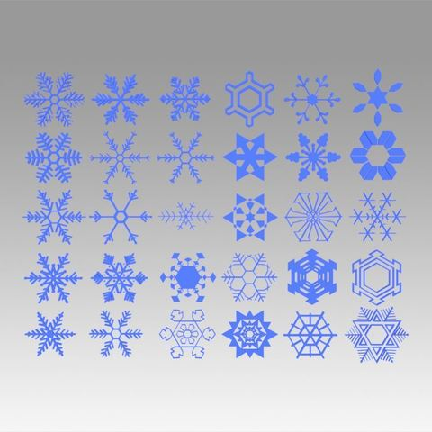 Download 3D printer templates Snowflakes collection, Blackeveryday