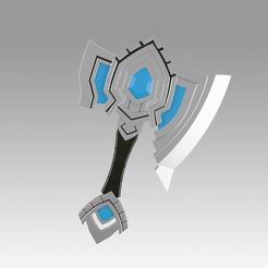 Download 3D printer designs World Of Warcraft Shadowlands Axe Bastion Cosplay weapon prop, Blackeveryday