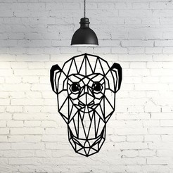 Impresiones 3D Monkey Face Wall Sculpture 2D, UnpredictableLab