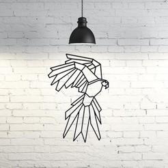 STL gratis Parrot Wall Sculpture 2D, UnpredictableLab