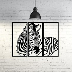 Download 3D model Zebra Frame Wall Sculpture 2D, UnpredictableLab
