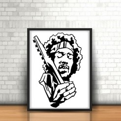 Download STL Jimmy Hendrix wall Sculpture 2D, UnpredictableLab