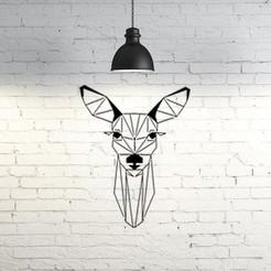 Archivos STL Deer face wall sculpture 2D, UnpredictableLab