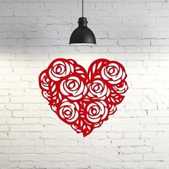 Download 3D printing designs Heart Roses wall sculpture 2D I San valentines day, UnpredictableLab