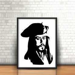 Download 3D printing templates Jack Sparrow Wall Sculpture 2D, UnpredictableLab