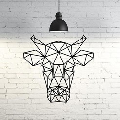 Free 3D printer files Bull Wall Sculpture 2D, UnpredictableLab
