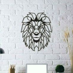 Free 3D printer designs Lion Wall Sculpture 2D, UnpredictableLab